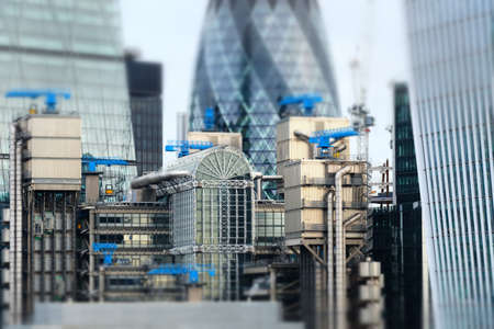 minature: Minaturised Shot Of Buildings In London Financial District Stock Photo