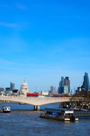 Minaturised Shot Of London Skyline Towards City And St Pauls Cathedral Stock Photo