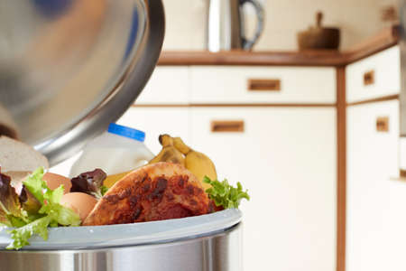 Fresh Food In Garbage Can To Illustrate Waste Foto de archivo