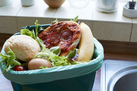 Fresh Food Waste In Recycling Bin At Home Stok Fotoğraf - 81037886