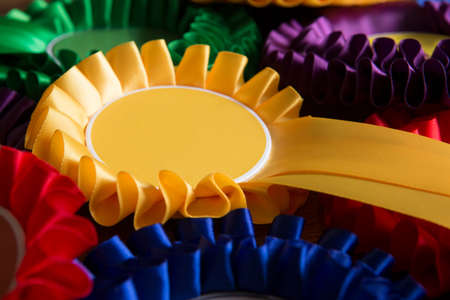 Full Frame Shot Of Colourful Political Rosettes