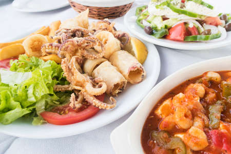 Traditional Greek Food Served At Outdoor Restaurant Stock Photo