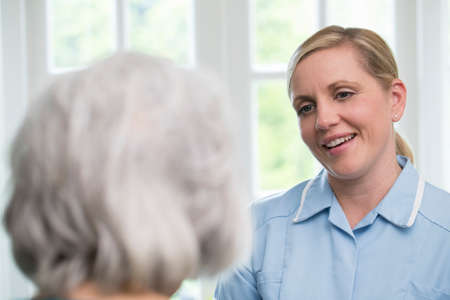 Care Worker Talking To Senior Woman At Home