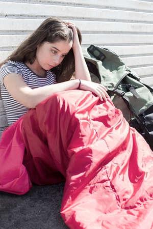 Vulnerable Teenage Girl Sleeping On The Street
