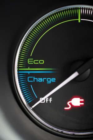 Close Up Of Dial Showing Charge Remaining In Electric Car Motor