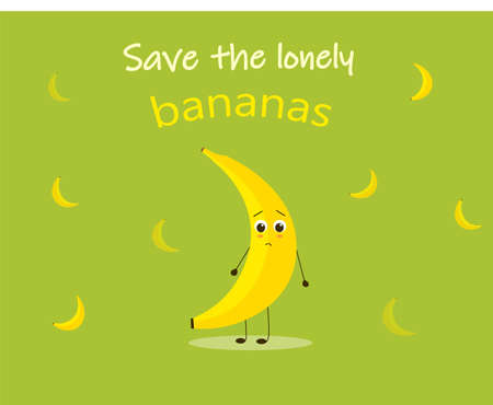 Colorful vector for saving the lonely bananas. Conscious consumption poster for shops and markets