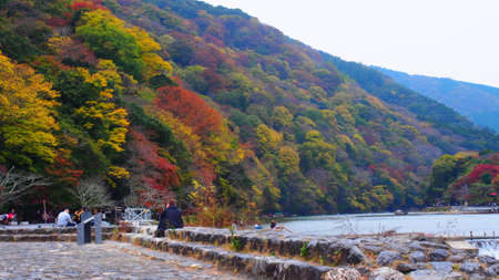 Riverside with colourful mountains