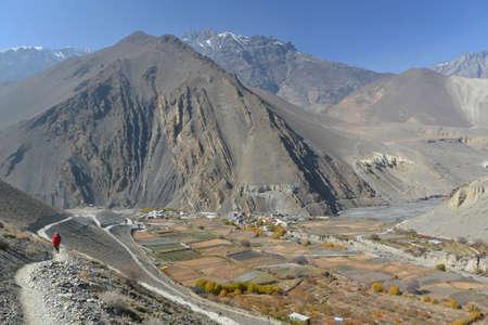 kali: View on Kagbeni village located in the valley of the Kali Gandaki River. Upper Mustang, Nepal.November 2014 Stock Photo