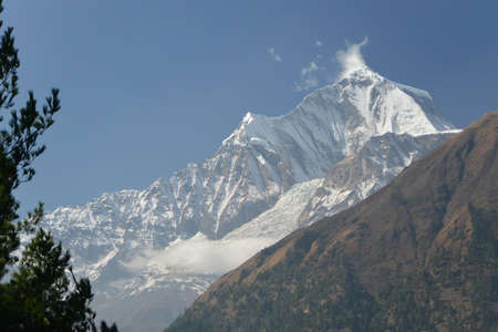 kali: View of mount Dhaulagiri from Kali Gandaki Valley, annapurna Trek. - Nepal Stock Photo