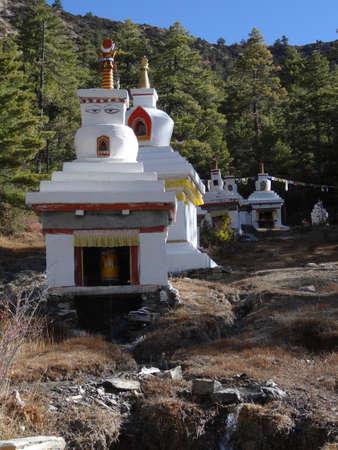 buddhist stupa: Buddhist stupa in mountains, Annapurna  region,  Nepal. Stock Photo