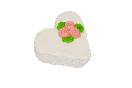 white cake in a heart on a white background Stock Photo - 9854369
