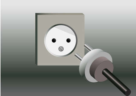 drawn socket and lying near Plug on gray