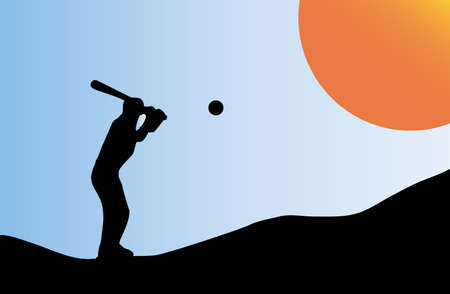 Illustration of silhouette of a baseball player at sunset Vector