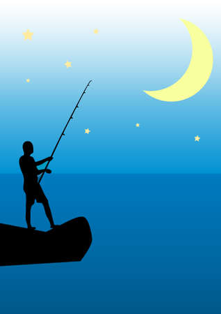 Night fishing from the rocks on the background of the Moon Illustration