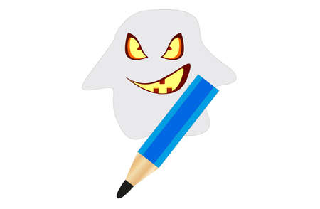 apparition: Terrible apparition with a pencil in hand Illustration