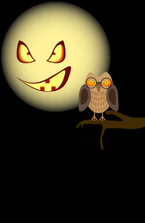 Owl sitting on a tree against the background of the sinister moon Vector