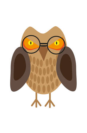 Painted owl with glasses on a white background Vector