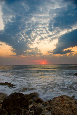 restless: restless sea against the backdrop of a beautiful sunset