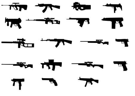 machine gun: different weapons collection silhouette Illustration