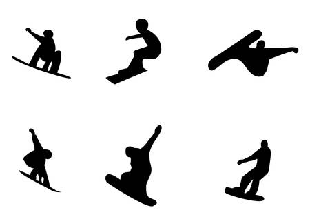 slope: Vector silhouettes of snowboarders on a white background