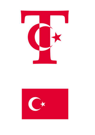 The letter T in the form of the flag of Turkey