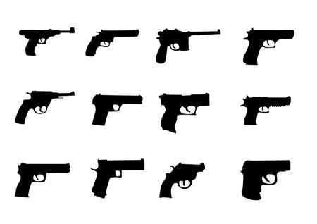 pistols: set silhouette miscellaneous pistols and revolver Illustration