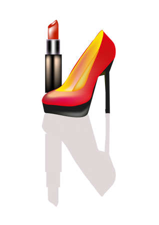 Women's shoes and lipstick Stock Vector - 10879343