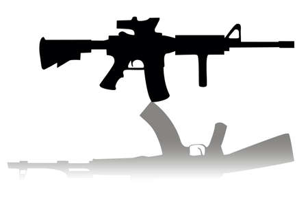 firearms: Vector machines in the reflection, symbolizing the east and west