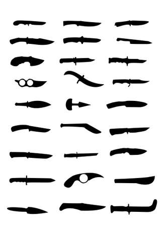 Various knife silhouettes collection - vector Stock Vector - 11578549