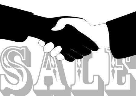 mutually: illustration of the concept of a successful sale Illustration