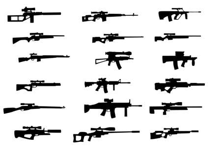 bullet icon: Collection of vector silhouettes of weapons with sniper scope