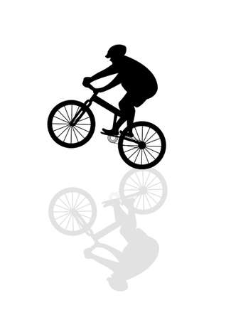 legs around: vector cyclist with reflection Illustration