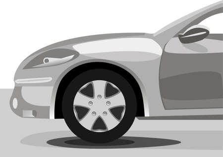 flown: silhouette of car sedan on white background. Vector illustration Illustration