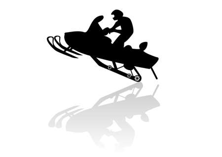 Snowmobile motorbike silhouette illustration background Ilustracja