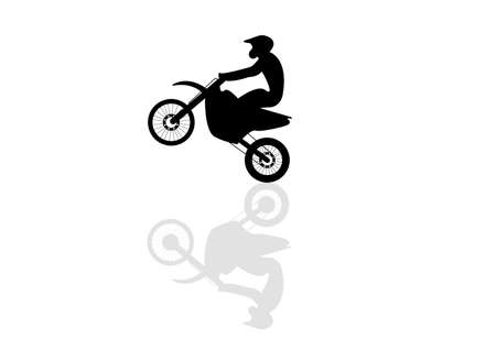 Motorcyclist flies on a motorcycle, lifting up the front wheel. Silhouette Stock Vector - 11829779