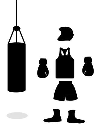 A silhouette of boxing accessories in the vector Vector