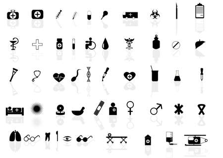Vector set of icons for health topic