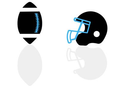 protective clothing: A silhouette of a ball and helmet for football in the vector