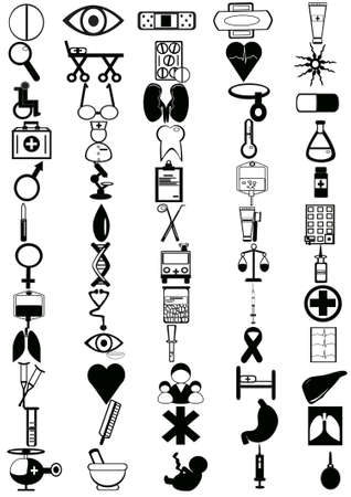 Set of 60 icons on the medical theme Vector