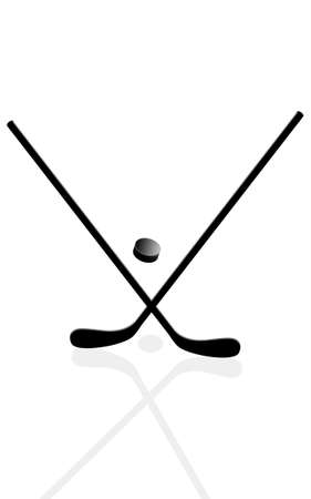 hockey stick: Two hockey sticks and puck in the vector