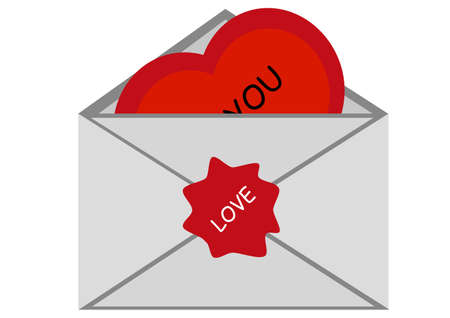 secret love: Vector de San Valent�n - un sobre con un coraz�n