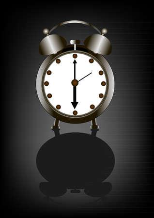 awaking: Retro alarm clock in the vector Illustration