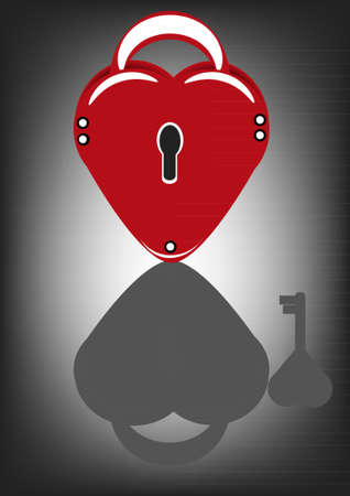 Lock in the heart-shaped and visible in the reflection of the key Vector