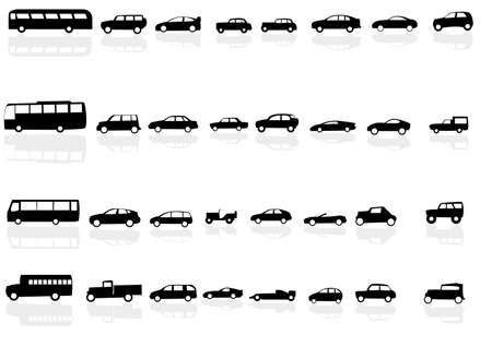 motor transport: Vector set of silhouettes of cars with reflections