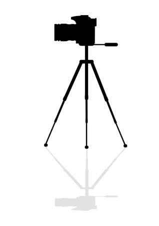 Silueta SLR cámara en un trípode Ilustración de vector