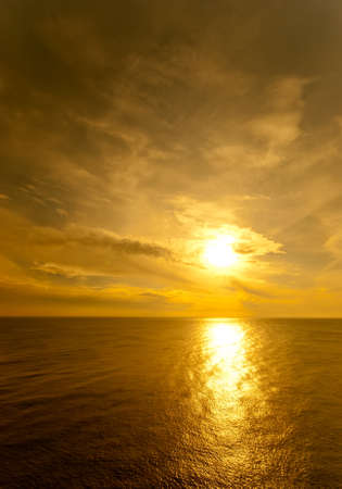 Image shows the sun setting over the Black sea Stock Photo
