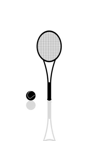Silhouette of a tennis racket and a ball with reflection