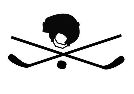 hockey goal: Pirate character in the form of hockey sticks and helmets Illustration