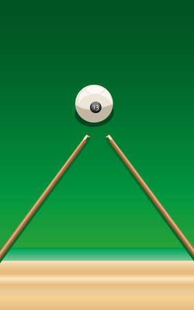 two billiard cue and ball number thirteen on the green table Vector