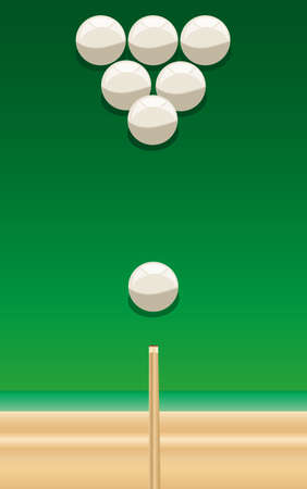 billiard cue and balls on the green table.txt Vector